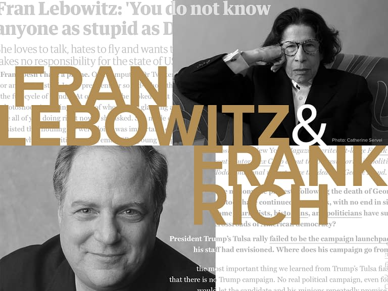 Fran Lebowitz and Frank Rich: ELECTION 2020 - The Temple Emanu-El Streicker Center - 2020 United States presidential debates